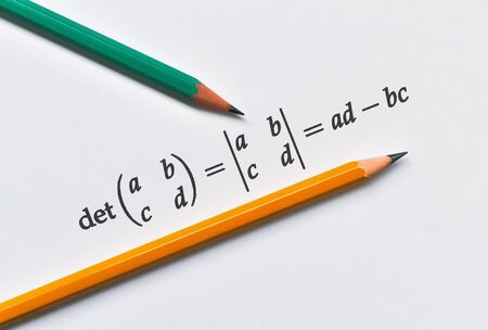 Example of calculating of the determinant of a given two by two matrix