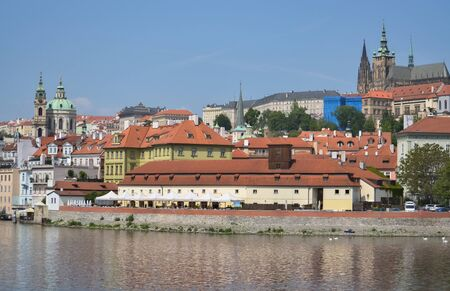 Detail of the beautiful Prague and the river Vltava Stock Photo