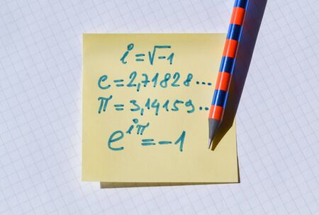 Important mathematical constants and the famous Euler equation