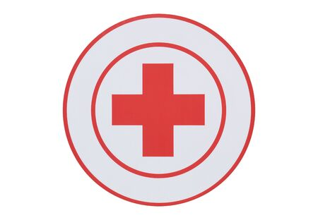 Circular red cross isolated on a white