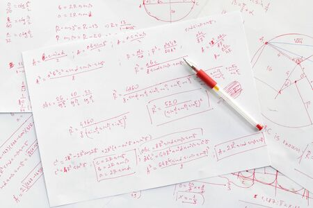 Pencil and example of solving advanced math problem