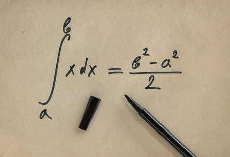 Example of a definite integral with its general solution and a felt pen Stock Photo