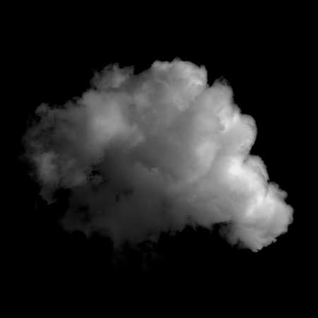 Photo of a fluffy cloud isolated on black background