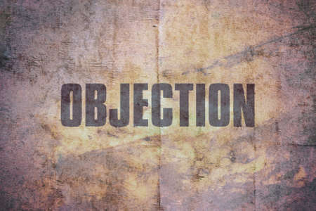 Word Objection written on vintage grunge background Stock Photo