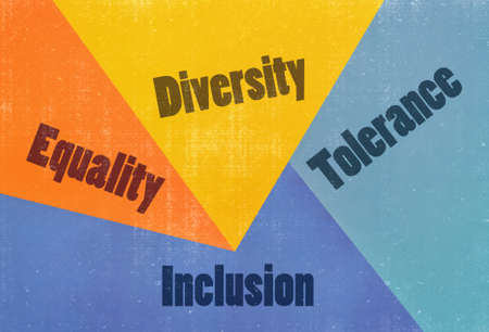 Several words related to the human rights written on a colorful background Stock Photo