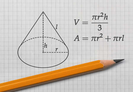 Formulas for the volume and the area of a cone and a yellow pencil