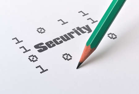 Word Security and binary digits written on bright background Stock Photo