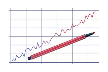 Two color broken line graph and a felt pen isolated on white background