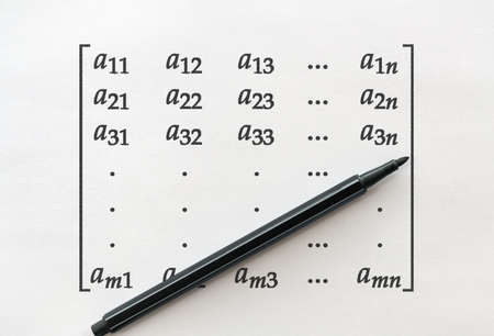 General form of matrix and a felt pen on bright background