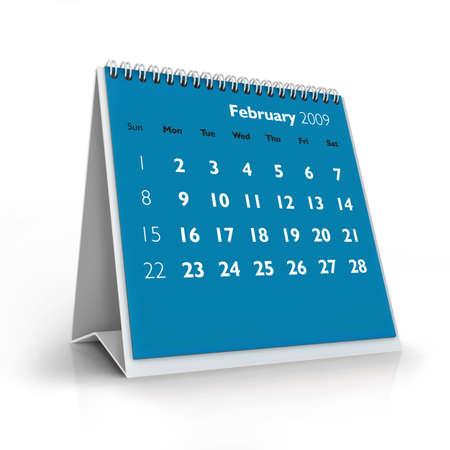 3D desktop calendar, February 2009
