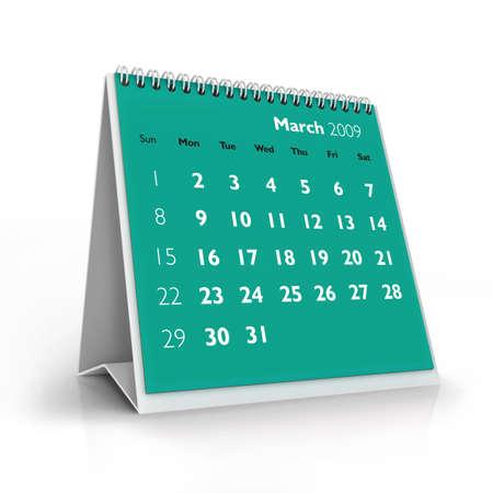 3D desktop calendar, March 2009