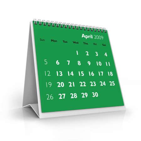 3D desktop calendar, April 2009