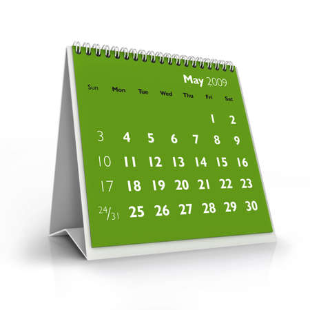 3D desktop calendar, May 2009