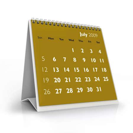 3D desktop calendar, July 2009 Stock Photo