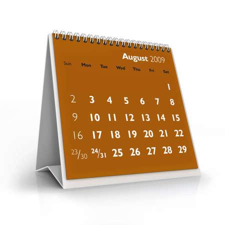 3D desktop calendar, August 2009