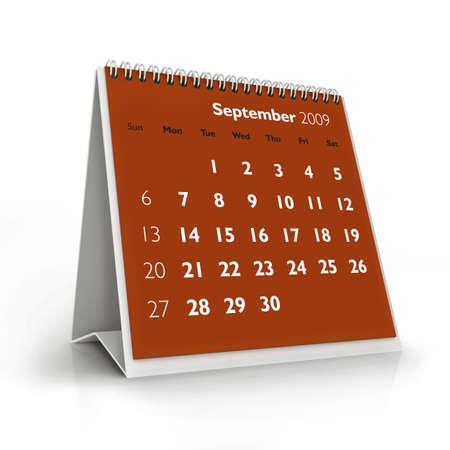 3D desktop calendar, September 2009 Stock Photo