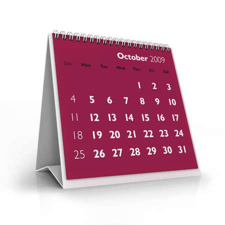 3D desktop calendar, October 2009 Stock Photo