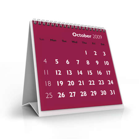 3D desktop calendar, October 2009 Stock Photo