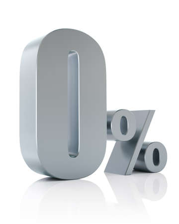 Zero percent metallic discount symbol  photo