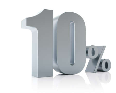 Ten percent metallic discount symbol