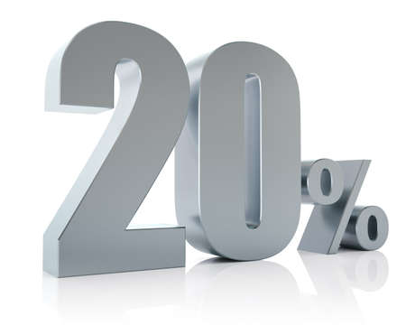 Twenty percent metallic discount symbol