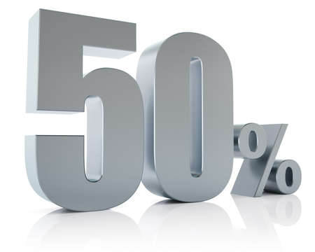 Fifty percent metallic discount symbol  photo