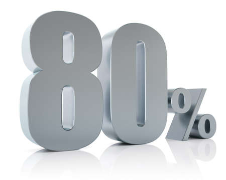 80: Eighty percent metallic discount symbol  Stock Photo