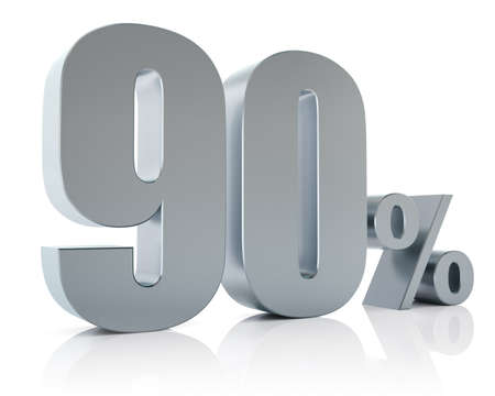 Ninety percent metallic discount symbol Stock Photo