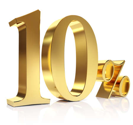 Ten percent 3D in gold Stock Photo