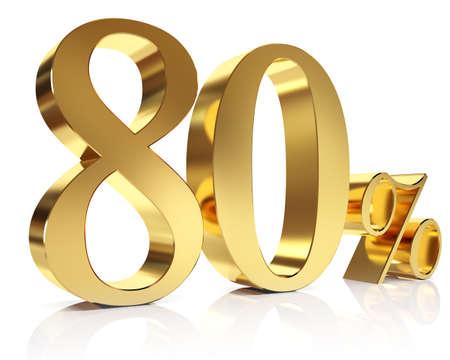 achtzig: Achtzig Prozent 3D in Gold Lizenzfreie Bilder