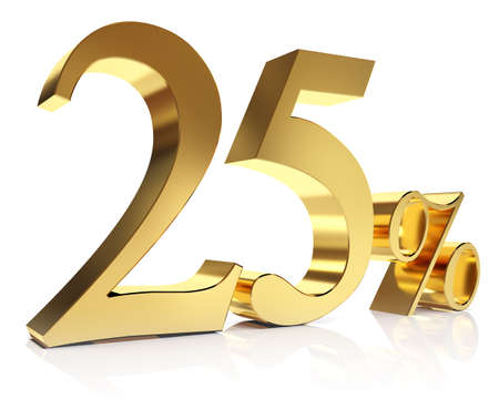 twenty five percent 3D in gold Stock Photo