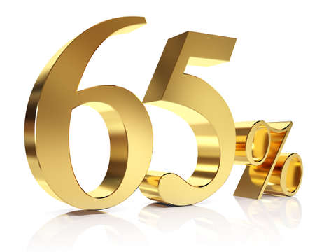 Sixty five percent 3D in gold Stock Photo
