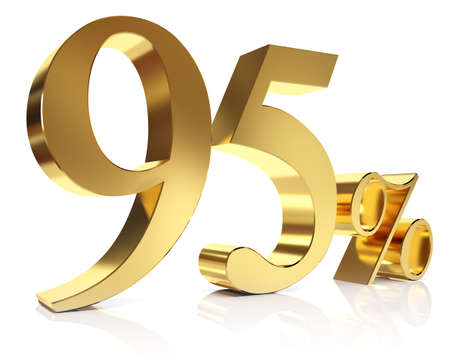 ninety: Ninety five percent 3D in gold Stock Photo