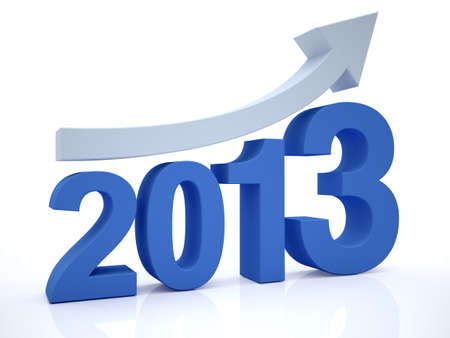3D Render of Growth 2012 With Arrow Stock Photo - 15516673