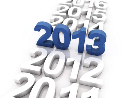 3D Render of the new year 2013 and other years