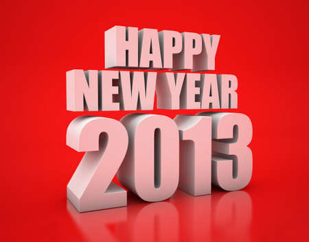 3D Render of the text Happy New Year on red background Stock Photo