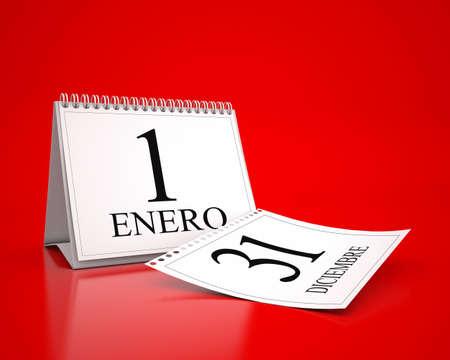 3D desktop calendar of January 1 in spanish language