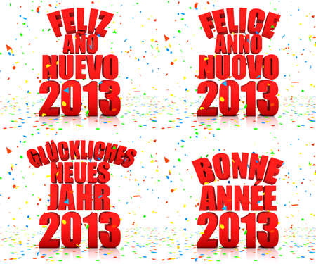 Happy New year 2013 in various languages