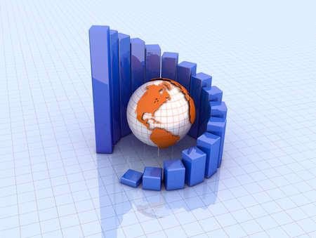 Business graph and earth Stock Photo