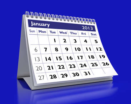 calendar January 2013 in color background Stock Photo