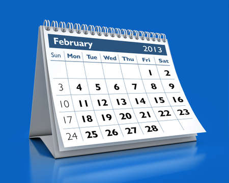 calendar February 2013 in color background photo