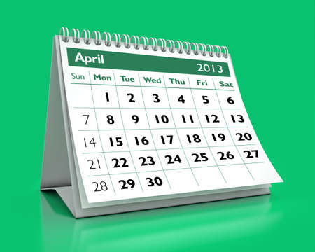 calendar April 2013 in color background photo