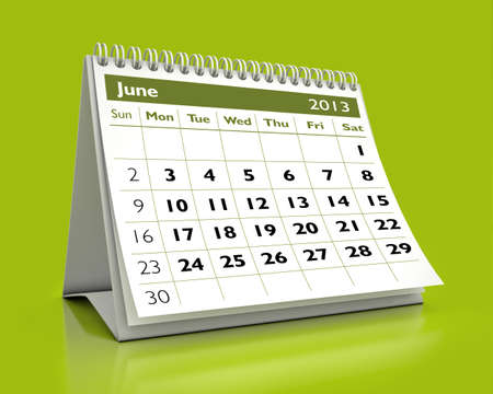 calendar June 2013 in color background Stock Photo - 16331597