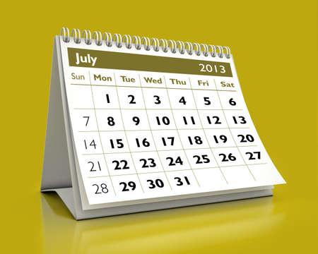 calendar July 2013 in color background