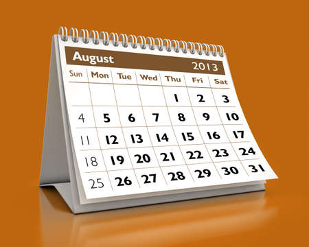 calendar August 2013 in color background photo