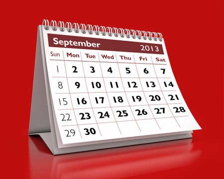 calendar September 2013 in color background