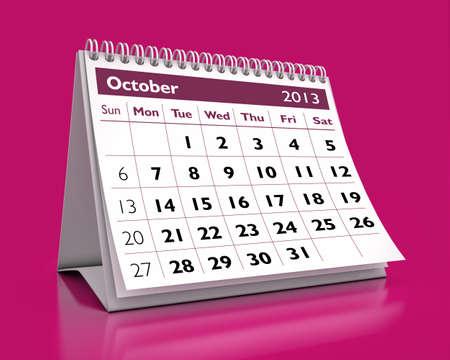 calendar October 2013 in color background