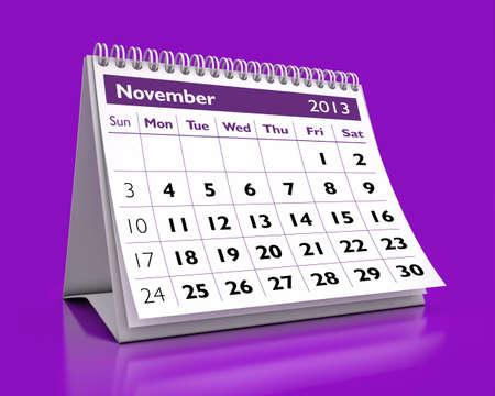 calendar November 2013 in color background