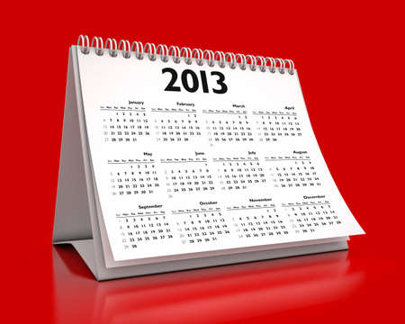 calendar 2013 in red background photo