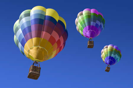Hot air balloons in the blue sky photo